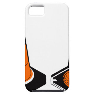 orange black  Traffic cones safety pylons Tough iPhone 5 Case