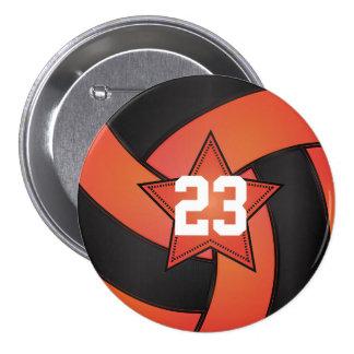 Orange & Black Volleyball Star Players 7.5 Cm Round Badge