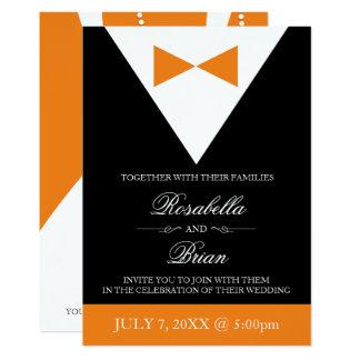 Orange & Black Wedding Invitations | Fall Tuxedo