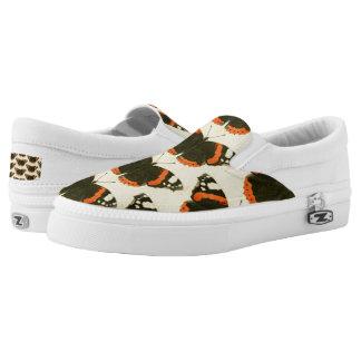 Orange Black & White Butterflies Art Slip On Shoes