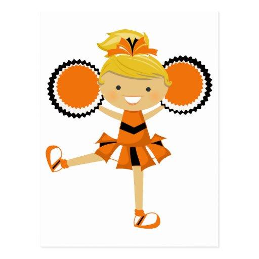 Orange, Black & White Cheerleader Postcards