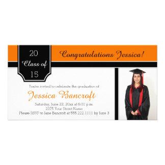 Orange Black White Photo Graduation Invitation
