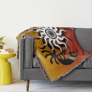 Orange Black White Southwest Design  Kokopelli Throw Blanket