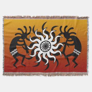 Orange Black White Southwest Design  Kokopelli Throw Blanket