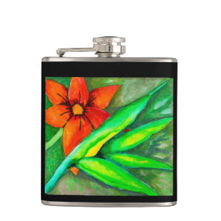 Orange blossom and green leaf flask