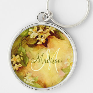 Orange Blossom Initial Silver-Colored Round Key Ring