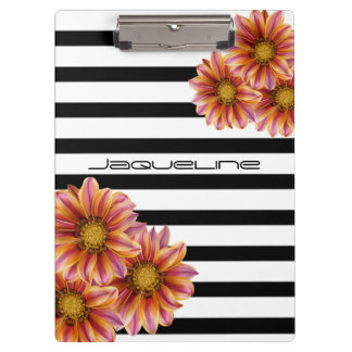 Orange Blossoms Black and White Stripe Clipboard