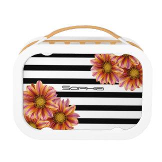 Orange Blossoms Black Stripe Lunch Box