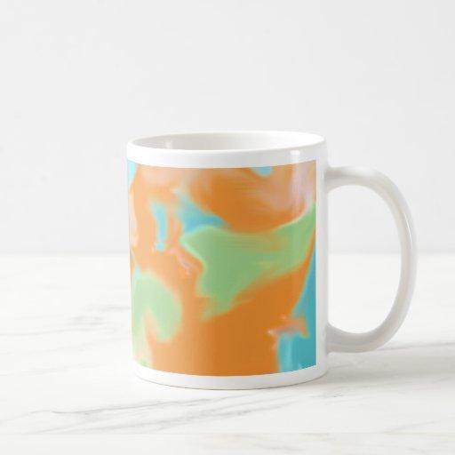 Orange Blue Abstract Art Basic White Mug