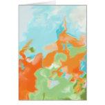 Orange Blue Abstract Art Card