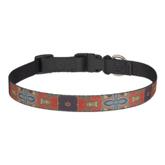 Orange Blue and Brown Design Dog Collar