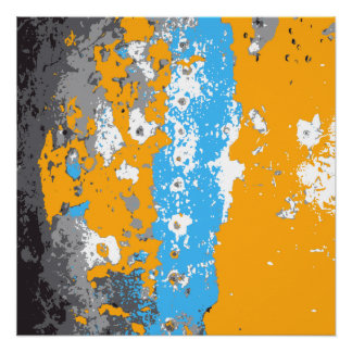 Orange, Blue and Gray Abstract Graphic.