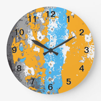 Orange, Blue and Gray Abstract Graphic. Wallclock