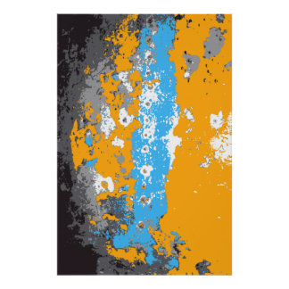 Orange, Blue and Gray Abstract Graphic. Poster