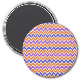 Orange Blue and Purple Aztec Chevron Stripes Magnet