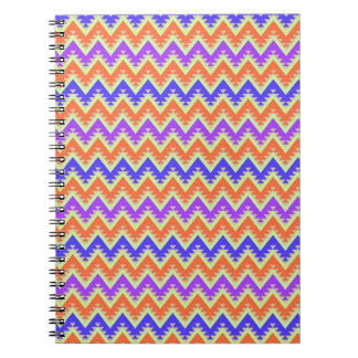 Orange Blue and Purple Aztec Chevron Stripes Notebook
