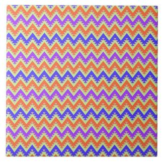 Orange Blue and Purple Aztec Chevron Stripes Tile