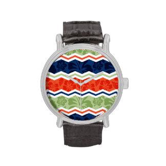 Orange, Blue, and Sage Green Tropical Pattern Wristwatch