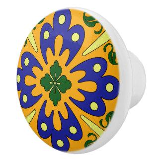 Orange Blue And Yellow Spanish Tile Design Ceramic Knob