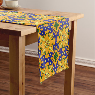 Orange Blue And Yellow Spanish Tile Pattern Short Table Runner