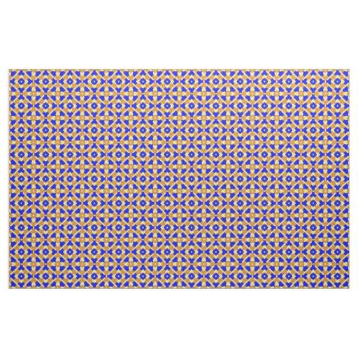 Orange Blue And Yellow Talavera Tile Design Fabric