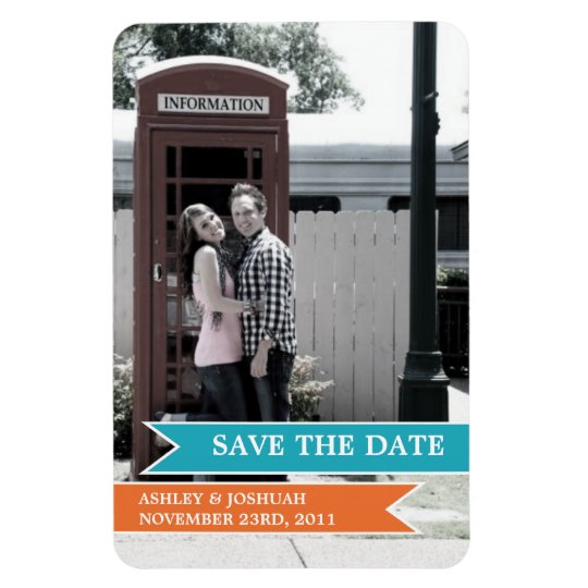 Orange & Blue Banner Photo Save The Date Magnet