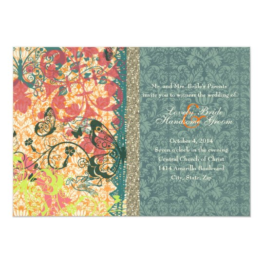 Orange Blue Boho Chic Gypsy Wedding Invitations