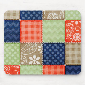 Orange, Blue, Brown and Sage Green Patchwork look Mouse Mat