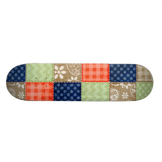 Orange Blue Brown and Sage Green Patchwork look Skate Deck