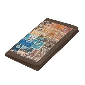 Orange Blue Brown Wallet, Sunset Postage Stamp Art Trifold Wallets