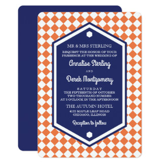 Orange & Blue | Checkered Wedding Invitation