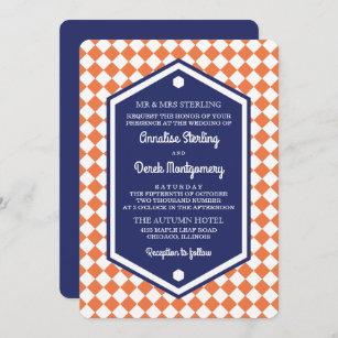 Orange & Blue   Chequered Wedding Invitation