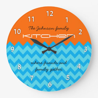 Orange & Blue Chevron Family Kitchen Wall Clock