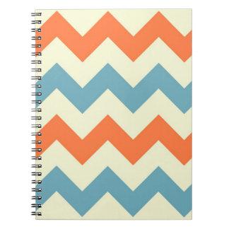 Orange blue chevron zigzag preppy zig zag pattern notebook