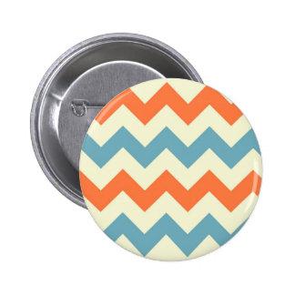 Orange blue chevron zigzag stripes zig zag pattern 6 cm round badge
