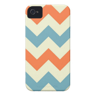 Orange blue chevron zigzag stripes zig zag pattern Case-Mate iPhone 4 cases