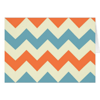 Orange blue chevron zigzag stripes zig zag pattern greeting card
