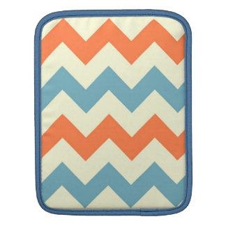 Orange blue chevron zigzag stripes zig zag pattern iPad sleeve