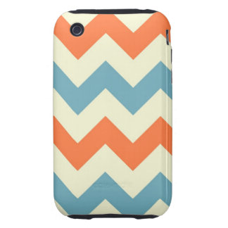 Orange blue chevron zigzag stripes zig zag pattern iPhone 3 tough covers