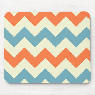 Orange blue chevron zigzag stripes zig zag pattern mouse mat