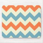 Orange blue chevron zigzag stripes zig zag pattern mousepad
