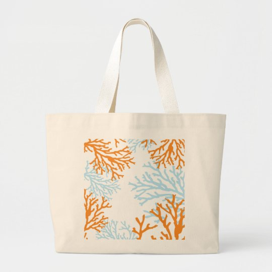 Orange & Blue Coral Tote Bag