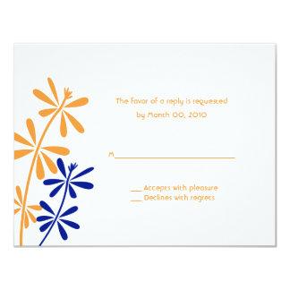 """Orange & Blue Floral RSVP Cards 4.25"""" X 5.5"""" Invitation Card"""