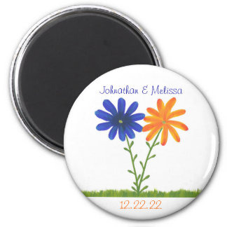 Orange & Blue Flower Save the date wedding magnets
