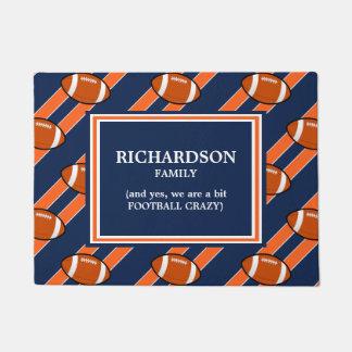 Orange Blue Football  Pattern Doormat