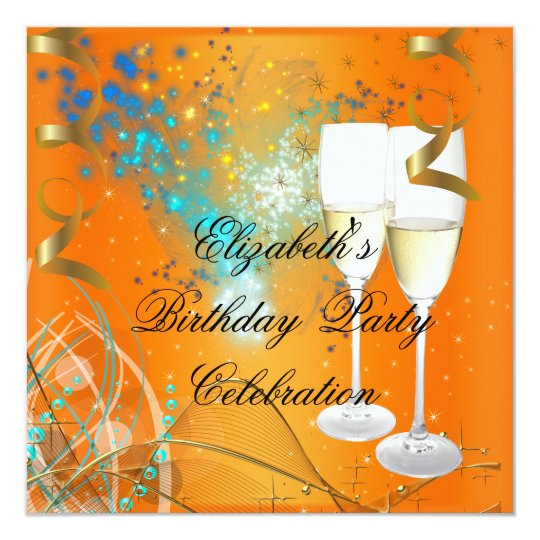 Orange Blue Gold Birthday Party Champagne Card