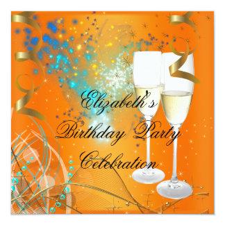 Orange Blue Gold Birthday Party Champagne 5.25x5.25 Square Paper Invitation Card