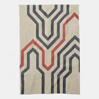 Orange & Blue Graphic Lines Tea Towel