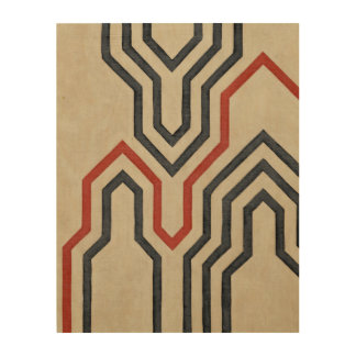Orange & Blue Graphic Lines Wood Print