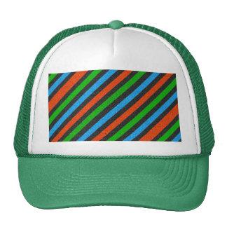 Orange, Blue, Green, Black Glitter Striped Cap